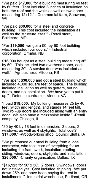 metal building pricing